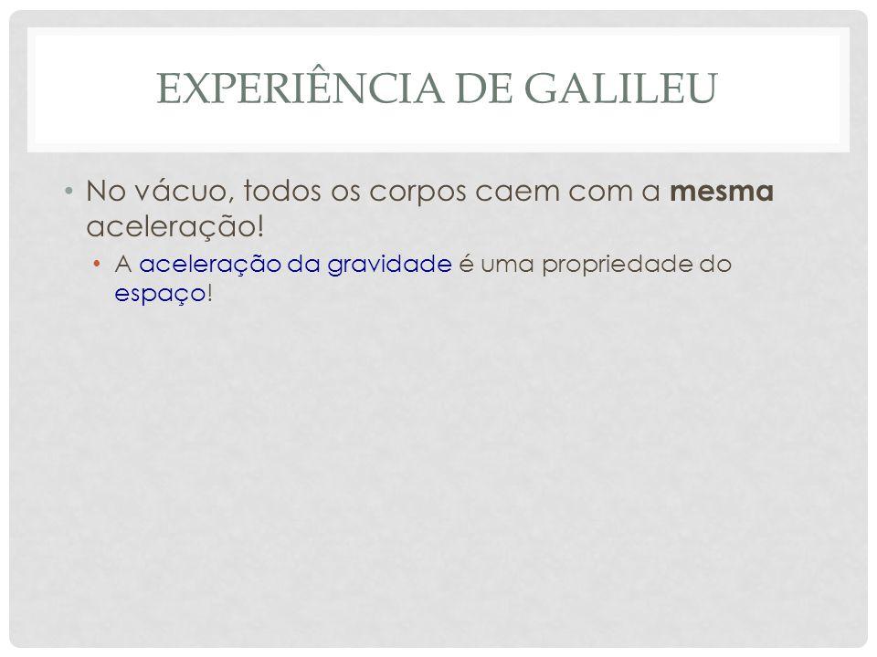 EXPERIÊNCIA DE GALILEU No vácuo, todos os corpos caem com a mesma aceleração.