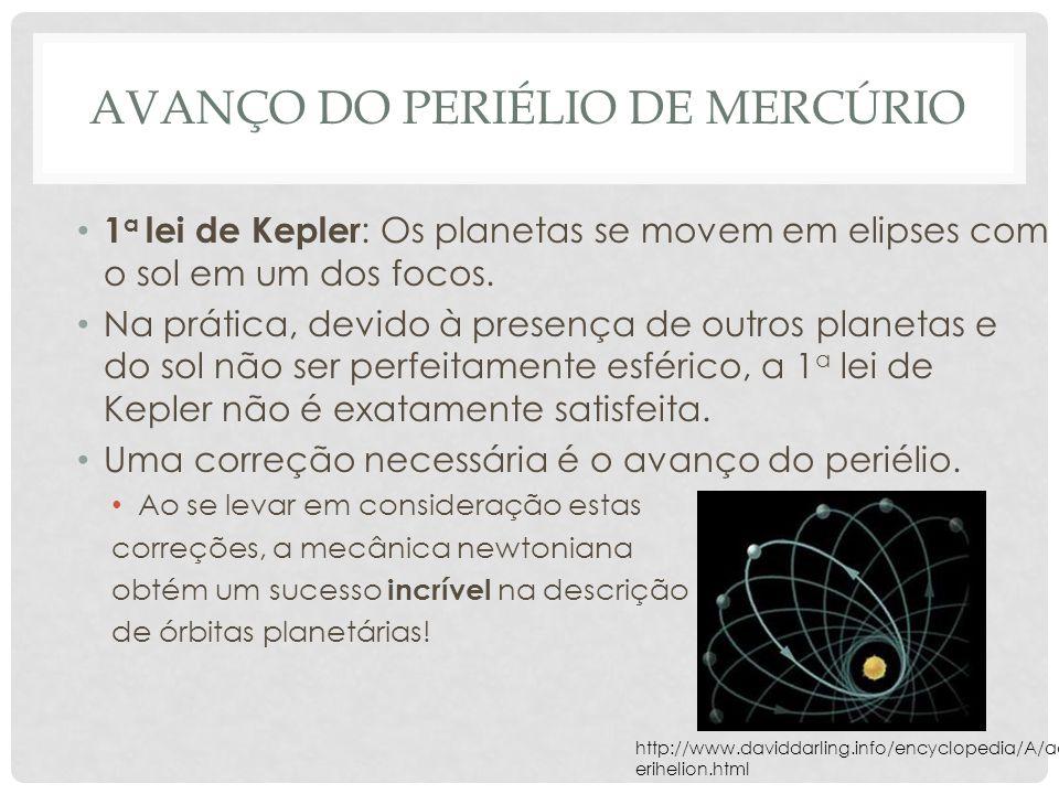 AVANÇO DO PERIÉLIO DE MERCÚRIO 1 a lei de Kepler : Os planetas se movem em elipses com o sol em um dos focos.