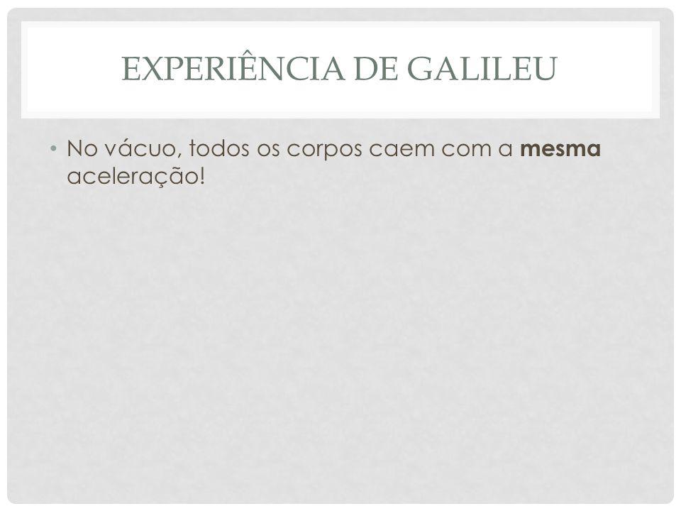 EXPERIÊNCIA DE GALILEU No vácuo, todos os corpos caem com a mesma aceleração!