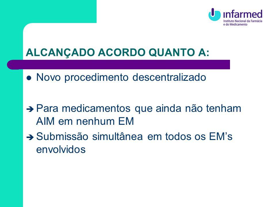 ALCANÇADO ACORDO QUANTO A: Procedimentos descentralizado e de RM Grupo de Coordenação risco potencial grave para a saúde pública: o GC deve tentar alcançar acordo; caso não seja possível, envio ao Comité dos Medicamentos de Uso Humano da EMEA