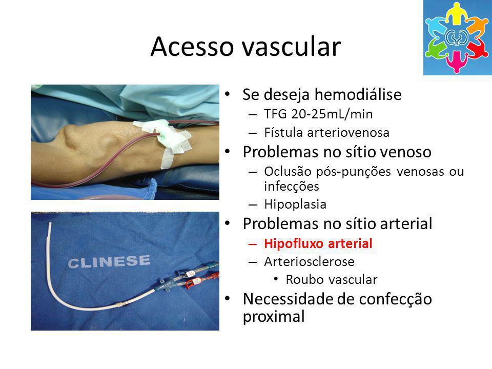 Acesso vascular Se deseja hemodiálise – TFG 20-25mL/min – Fístula arteriovenosa Problemas no sítio venoso – Oclusão pós-punções venosas ou infecções – Hipoplasia Problemas no sítio arterial – Hipofluxo arterial – Arteriosclerose Roubo vascular Necessidade de confecção proximal