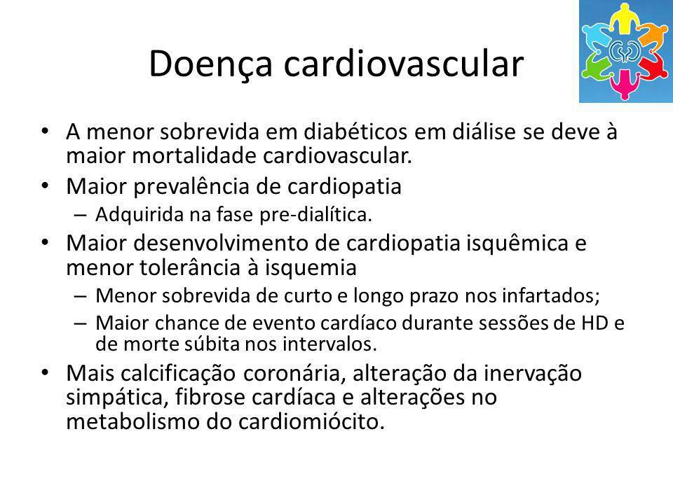 Doença cardiovascular A menor sobrevida em diabéticos em diálise se deve à maior mortalidade cardiovascular. Maior prevalência de cardiopatia – Adquir