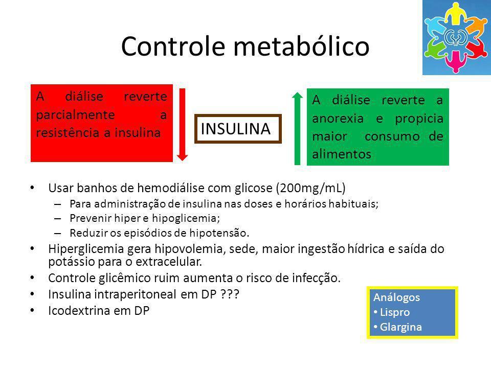 Controle metabólico Usar banhos de hemodiálise com glicose (200mg/mL) – Para administração de insulina nas doses e horários habituais; – Prevenir hiper e hipoglicemia; – Reduzir os episódios de hipotensão.