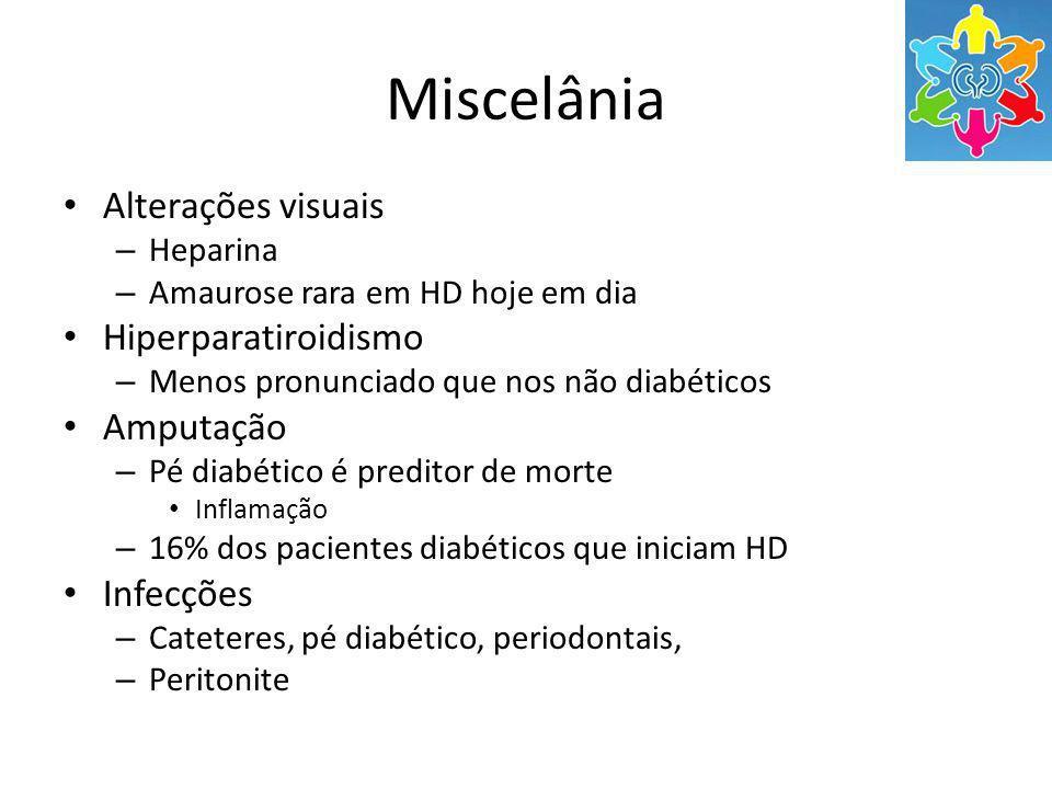 Miscelânia Alterações visuais – Heparina – Amaurose rara em HD hoje em dia Hiperparatiroidismo – Menos pronunciado que nos não diabéticos Amputação – Pé diabético é preditor de morte Inflamação – 16% dos pacientes diabéticos que iniciam HD Infecções – Cateteres, pé diabético, periodontais, – Peritonite