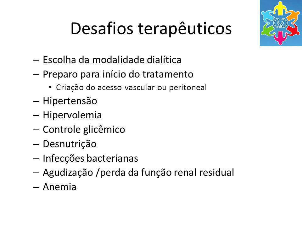 Desafios terapêuticos – Escolha da modalidade dialítica – Preparo para início do tratamento Criação do acesso vascular ou peritoneal – Hipertensão – Hipervolemia – Controle glicêmico – Desnutrição – Infecções bacterianas – Agudização /perda da função renal residual – Anemia
