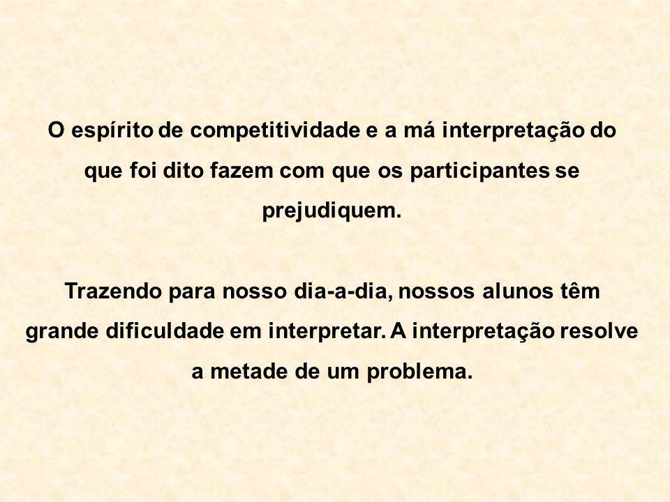O espírito de competitividade e a má interpretação do que foi dito fazem com que os participantes se prejudiquem. Trazendo para nosso dia-a-dia, nosso