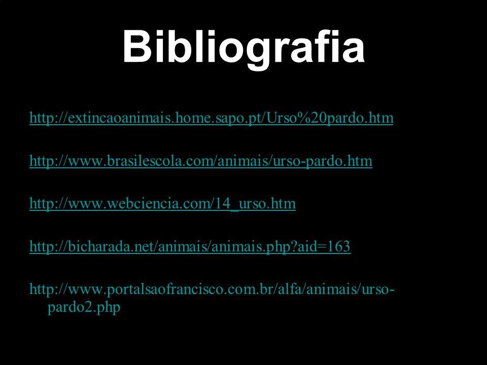 Bibliografia http://extincaoanimais.home.sapo.pt/Urso%20pardo.htm http://www.brasilescola.com/animais/urso-pardo.htm http://www.webciencia.com/14_urso