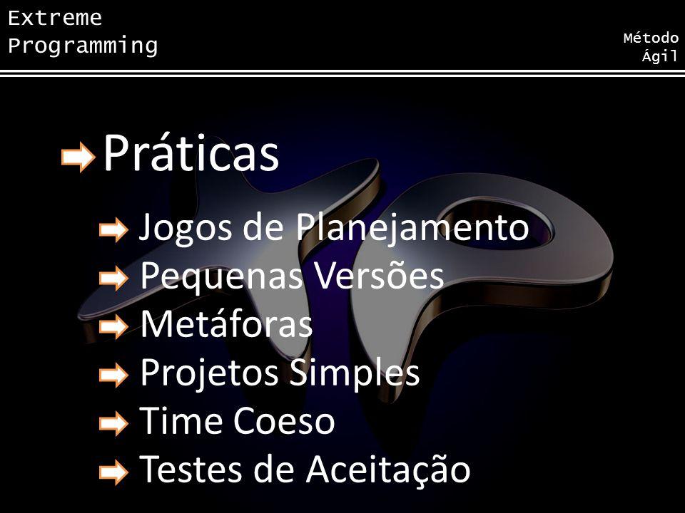 Extreme Programming Método Ágil Práticas Jogos de Planejamento Pequenas Versões Metáforas Projetos Simples Time Coeso Testes de Aceitação