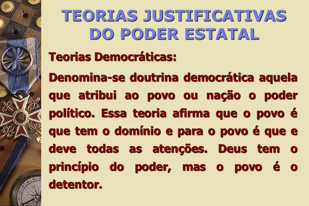TEORIAS JUSTIFICATIVAS DO PODER ESTATAL Teorias Democráticas: Denomina-se doutrina democrática aquela que atribui ao povo ou nação o poder político. E