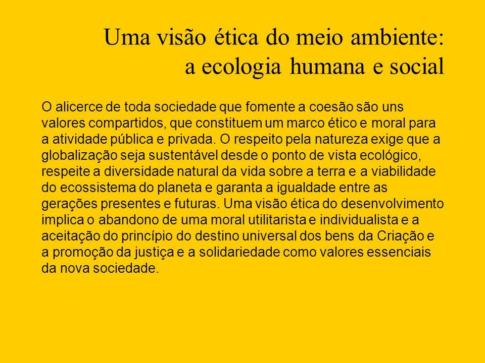 Uma visão ética do meio ambiente: a ecologia humana e social O alicerce de toda sociedade que fomente a coesão são uns valores compartidos, que constituem um marco ético e moral para a atividade pública e privada.