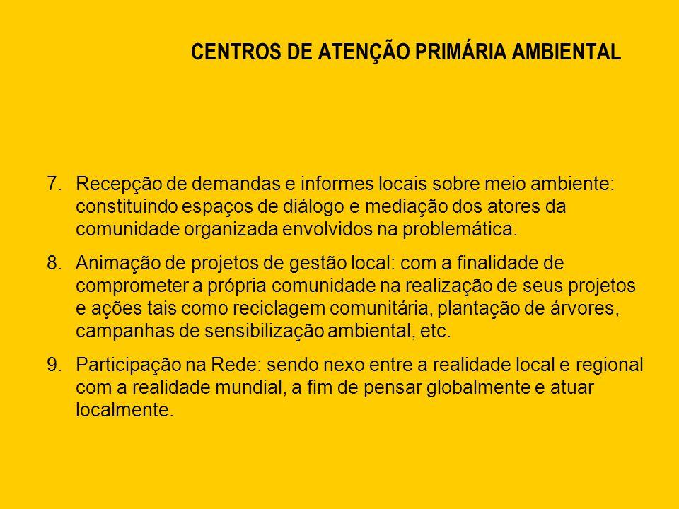 CENTROS DE ATENÇÃO PRIMÁRIA AMBIENTAL 7.Recepção de demandas e informes locais sobre meio ambiente: constituindo espaços de diálogo e mediação dos atores da comunidade organizada envolvidos na problemática.
