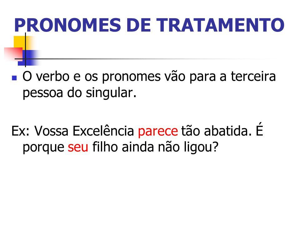 PRONOMES DE TRATAMENTO O verbo e os pronomes vão para a terceira pessoa do singular.