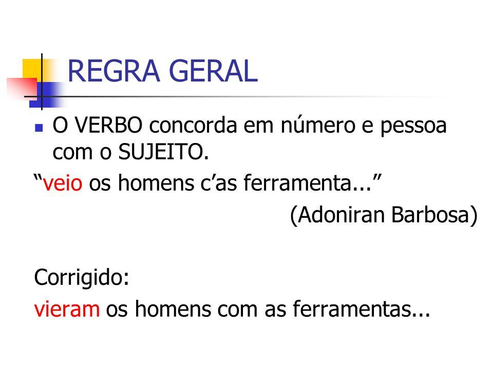 SUJEITO: NOME PRÓPRIO NO PLURAL Precedido de artigo: verbo no plural.