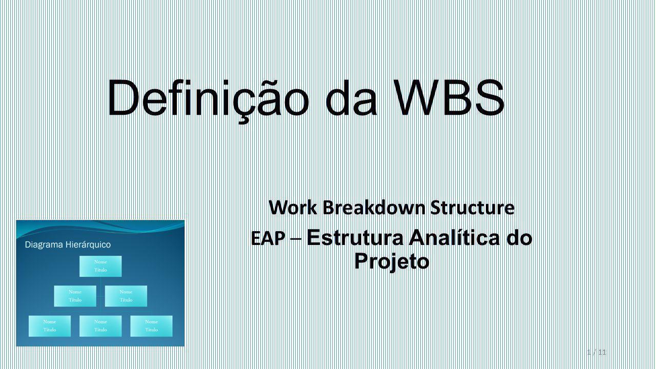 Definição da WBS Work Breakdown Structure EAP – Estrutura Analítica do Projeto 1 / 11