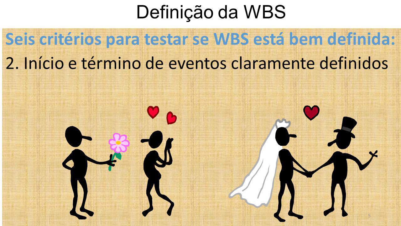 Seis critérios para testar se WBS está bem definida: 2. Início e término de eventos claramente definidos Definição da WBS 5