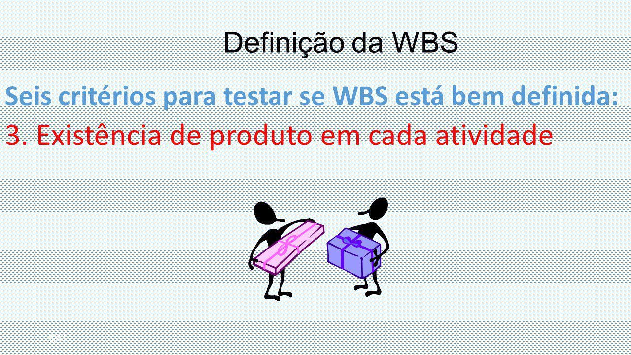 Seis critérios para testar se WBS está bem definida: 3. Existência de produto em cada atividade 6/41