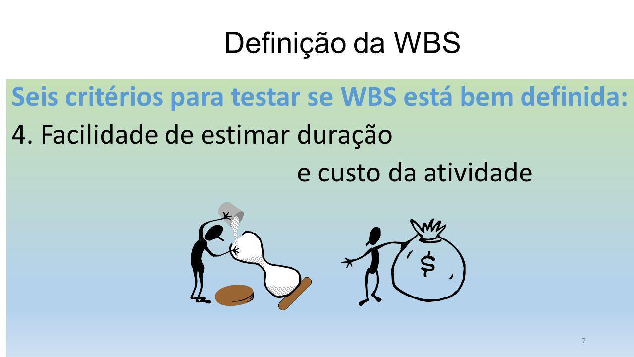 Definição da WBS Seis critérios para testar se WBS está bem definida: 4. Facilidade de estimar duração e custo da atividade 7