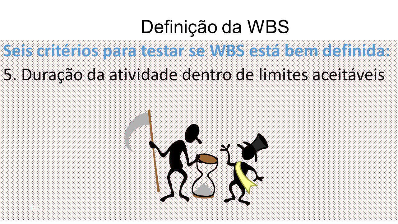 Definição da WBS Seis critérios para testar se WBS está bem definida: 5. Duração da atividade dentro de limites aceitáveis 8/41