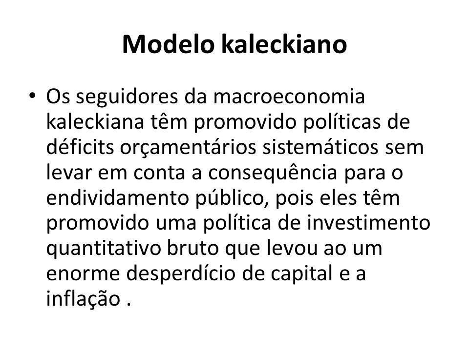Modelo kaleckiano Os seguidores da macroeconomia kaleckiana têm promovido políticas de déficits orçamentários sistemáticos sem levar em conta a consequência para o endividamento público, pois eles têm promovido uma política de investimento quantitativo bruto que levou ao um enorme desperdício de capital e a inflação.