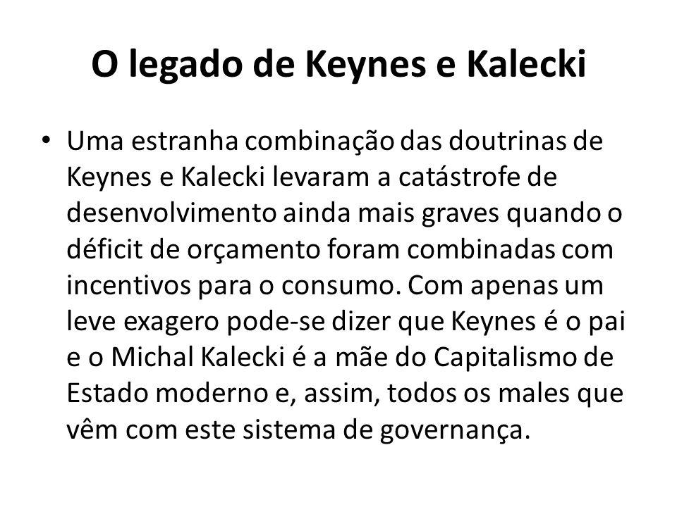 O legado de Keynes e Kalecki Uma estranha combinação das doutrinas de Keynes e Kalecki levaram a catástrofe de desenvolvimento ainda mais graves quando o déficit de orçamento foram combinadas com incentivos para o consumo.