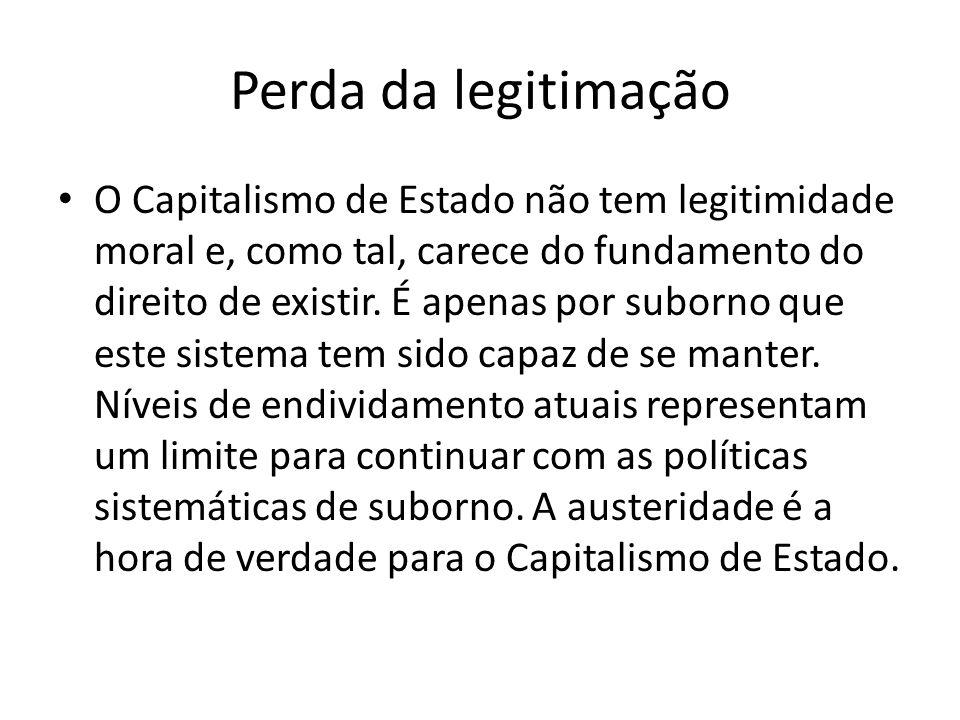 Perda da legitimação O Capitalismo de Estado não tem legitimidade moral e, como tal, carece do fundamento do direito de existir.