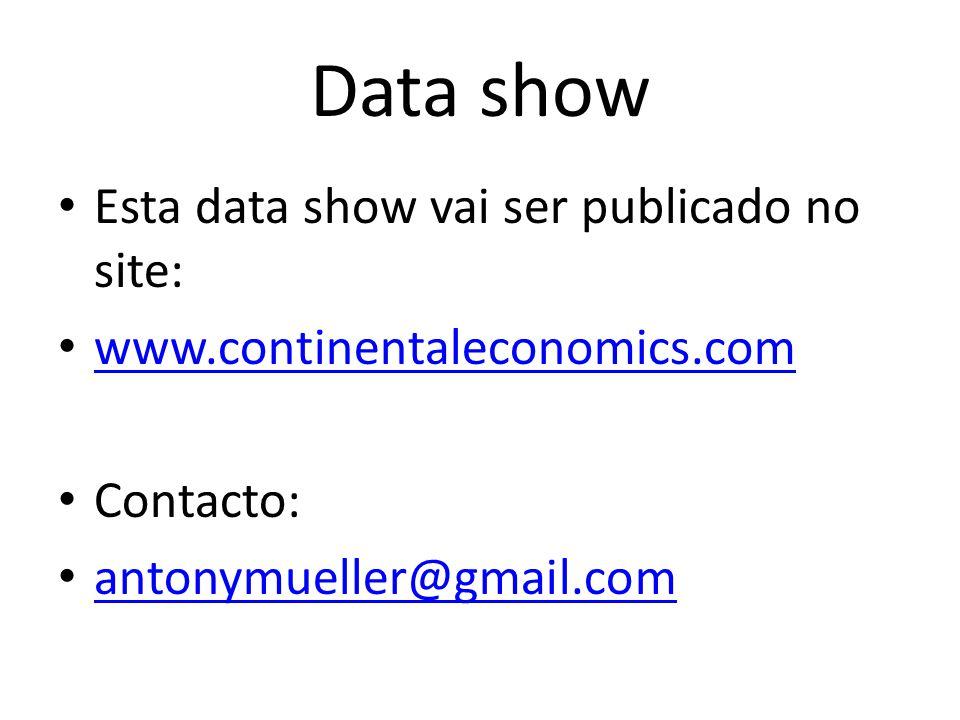 Data show Esta data show vai ser publicado no site: www.continentaleconomics.com Contacto: antonymueller@gmail.com