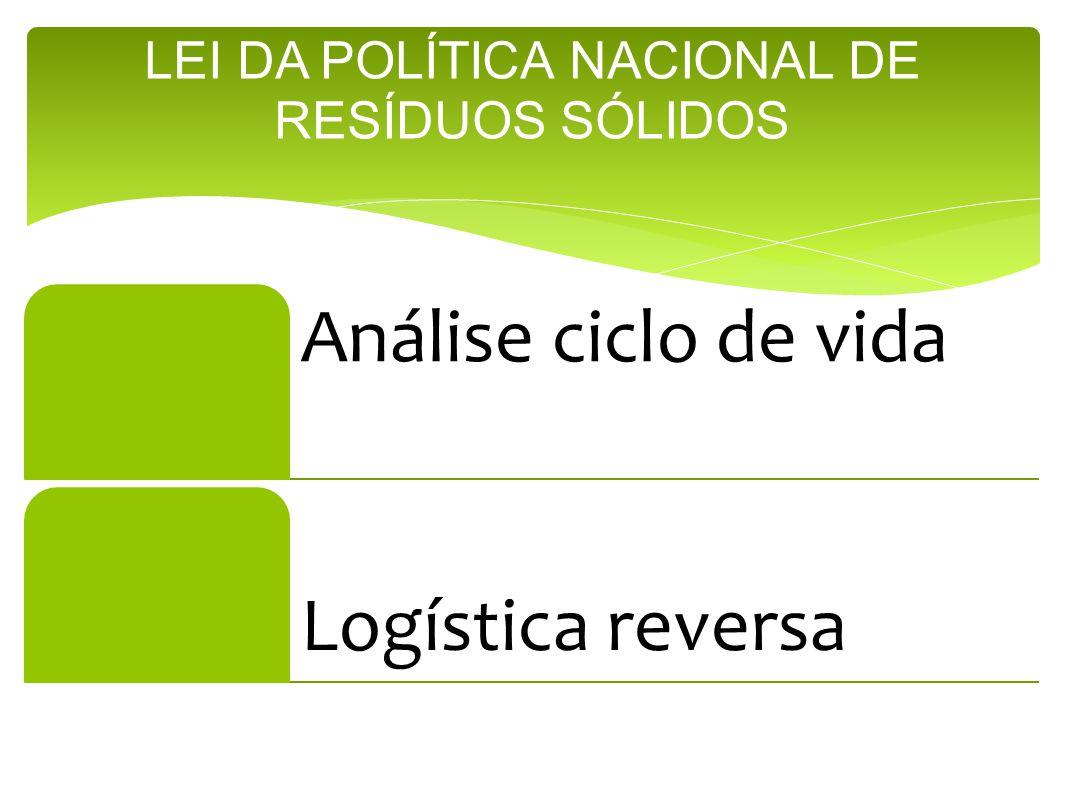 Análise ciclo de vida Logística reversa LEI DA POLÍTICA NACIONAL DE RESÍDUOS SÓLIDOS