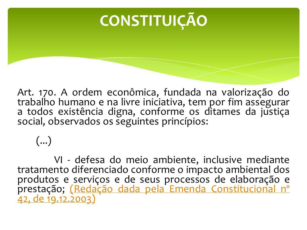 CONSTITUIÇÃO Art. 170. A ordem econômica, fundada na valorização do trabalho humano e na livre iniciativa, tem por fim assegurar a todos existência di