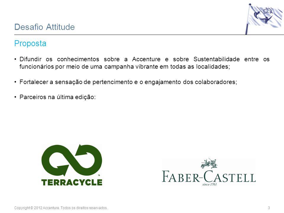 Copyright © 2012 Accenture. Todos os direitos reservados.3 Desafio Attitude Proposta Difundir os conhecimentos sobre a Accenture e sobre Sustentabilid