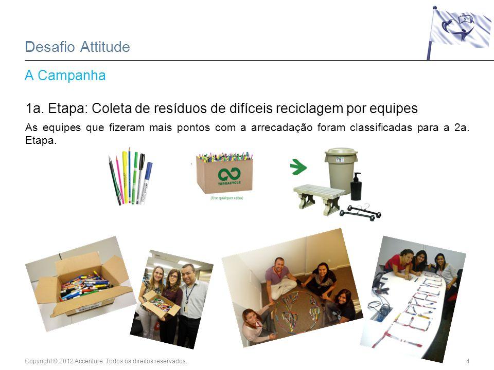 Copyright © 2012 Accenture. Todos os direitos reservados.4 Desafio Attitude A Campanha 1a. Etapa: Coleta de resíduos de difíceis reciclagem por equipe