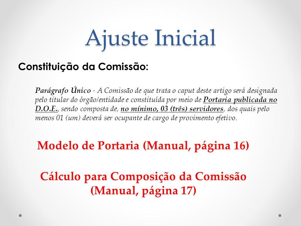 Ajuste Inicial Constituição da Comissão: Parágrafo Único - A Comissão de que trata o caput deste artigo será designada pelo titular do órgão/entidade