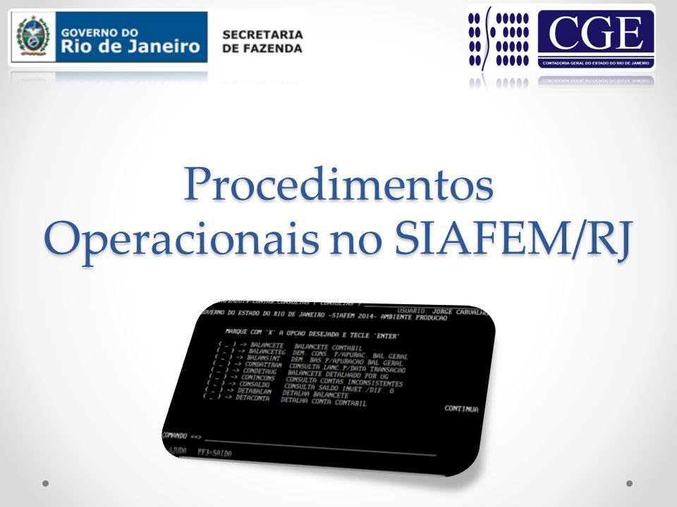 Procedimentos Operacionais no SIAFEM/RJ