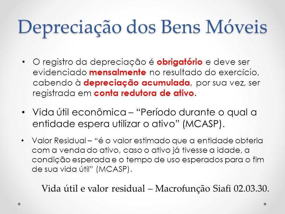Depreciação dos Bens Móveis Vida útil econômica – Período durante o qual a entidade espera utilizar o ativo (MCASP). O registro da depreciação é obrig