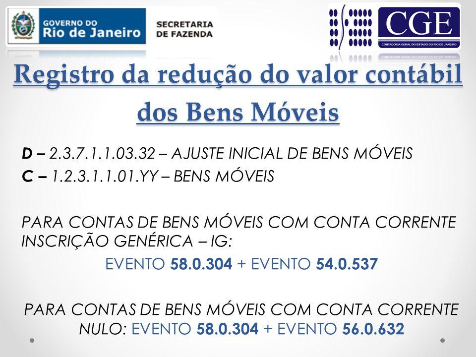 Registro da redução do valor contábil dos Bens Móveis D – 2.3.7.1.1.03.32 – AJUSTE INICIAL DE BENS MÓVEIS C – 1.2.3.1.1.01.YY – BENS MÓVEIS PARA CONTA