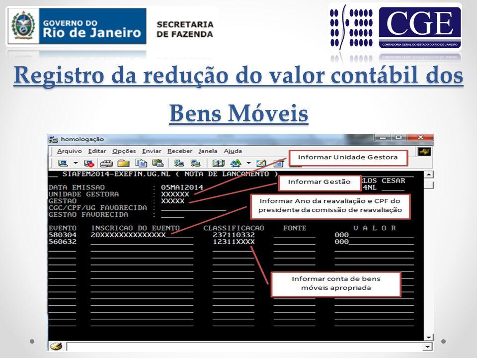 Registro da depreciação dos Bens Móveis D – 3.3.1.1.1.01.04 – DEPRECIAÇÃO DE BENS MÓVEIS C – 1.2.3.8.1.01.03 – ( - ) DEP.