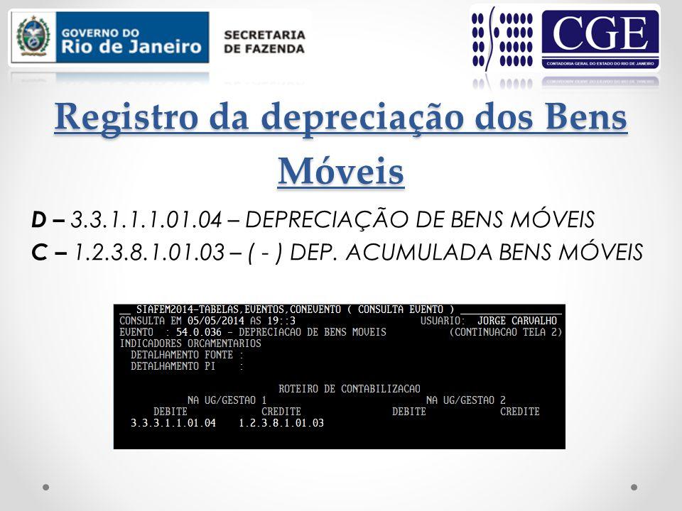 Registro da depreciação dos Bens Móveis D – 3.3.1.1.1.01.04 – DEPRECIAÇÃO DE BENS MÓVEIS C – 1.2.3.8.1.01.03 – ( - ) DEP. ACUMULADA BENS MÓVEIS