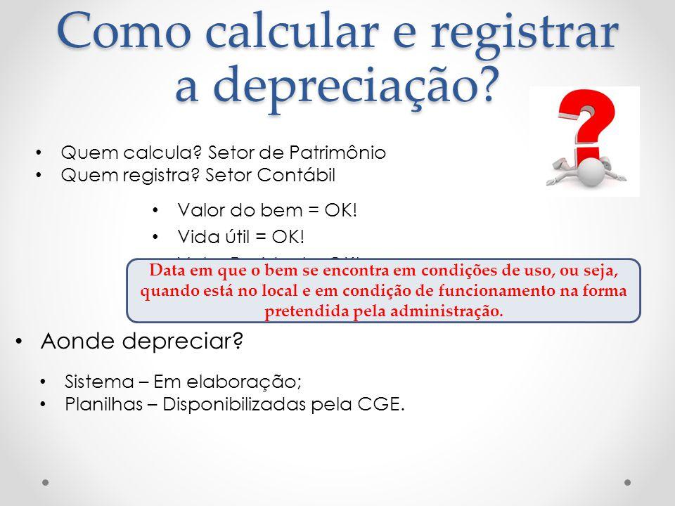 Como calcular e registrar a depreciação? Valor do bem = OK! Vida útil = OK! Valor Residual = OK! Data do início da utilização do bem = OK! Aonde depre