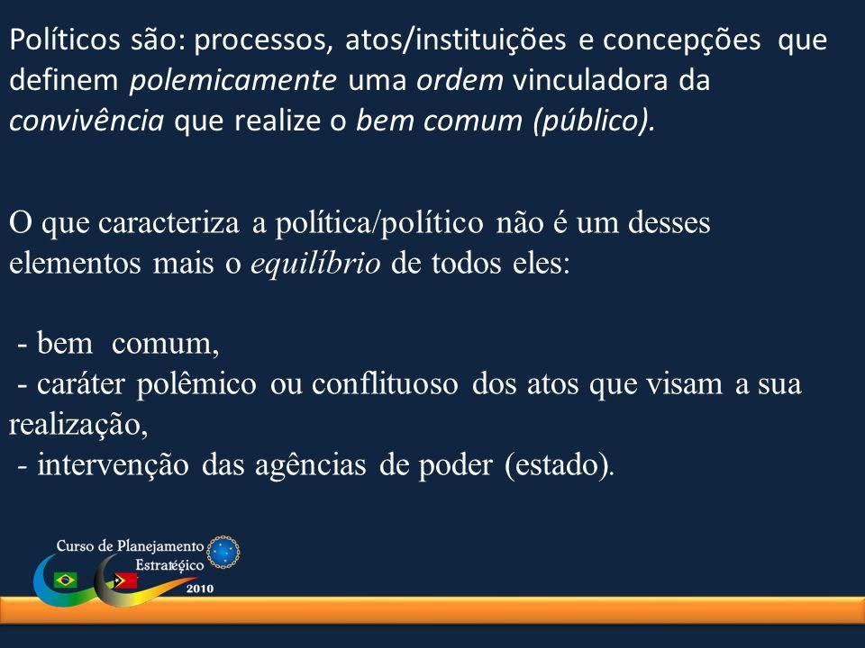 Políticos são: processos, atos/instituições e concepções que definem polemicamente uma ordem vinculadora da convivência que realize o bem comum (públi