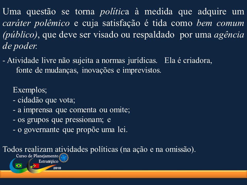 Uma questão se torna política à medida que adquire um caráter polêmico e cuja satisfação é tida como bem comum (público), que deve ser visado ou respa