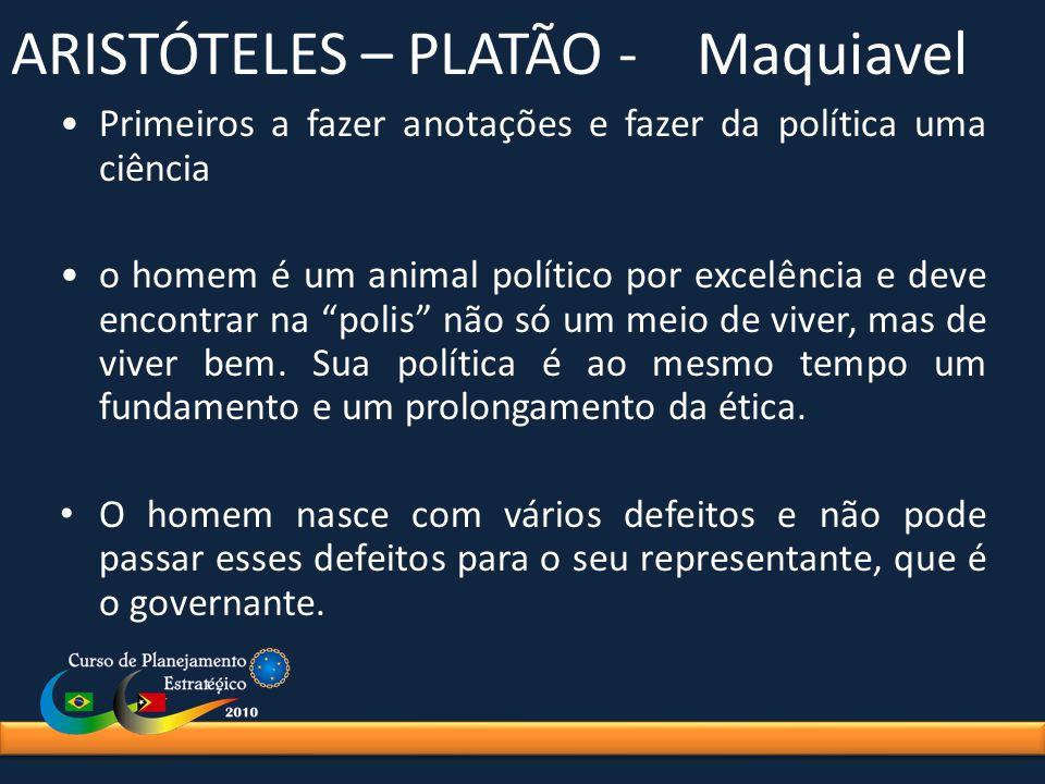 ARISTÓTELES – PLATÃO - Maquiavel Primeiros a fazer anotações e fazer da política uma ciência o homem é um animal político por excelência e deve encont