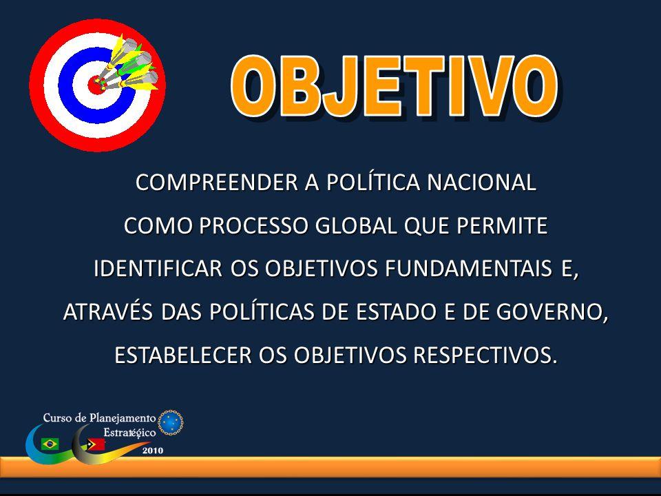 COMPREENDER A POLÍTICA NACIONAL COMO PROCESSO GLOBAL QUE PERMITE IDENTIFICAR OS OBJETIVOS FUNDAMENTAIS E, ATRAVÉS DAS POLÍTICAS DE ESTADO E DE GOVERNO