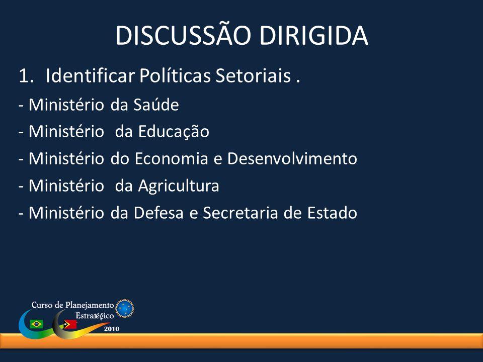 DISCUSSÃO DIRIGIDA 1.Identificar Políticas Setoriais. - Ministério da Saúde - Ministério da Educação - Ministério do Economia e Desenvolvimento - Mini