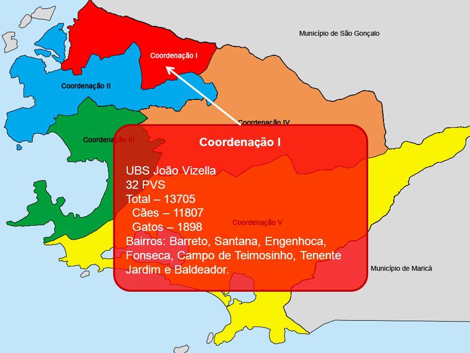 Coordenação I UBS João Vizella 32 PVS Total – 13705 Cães – 11807 Gatos – 1898 Bairros: Barreto, Santana, Engenhoca, Fonseca, Campo de Teimosinho, Tene