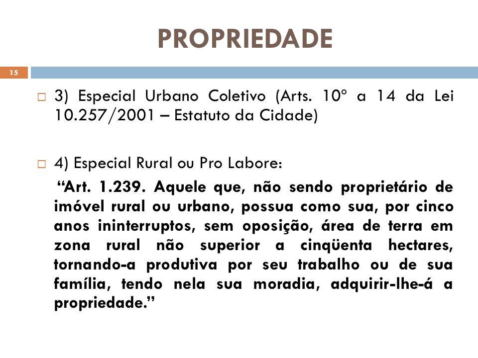 PROPRIEDADE 3) Especial Urbano Coletivo (Arts. 10º a 14 da Lei 10.257/2001 – Estatuto da Cidade) 4) Especial Rural ou Pro Labore: Art. 1.239. Aquele q