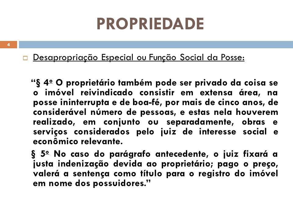 PROPRIEDADE Desapropriação Especial ou Função Social da Posse: § 4 o O proprietário também pode ser privado da coisa se o imóvel reivindicado consisti