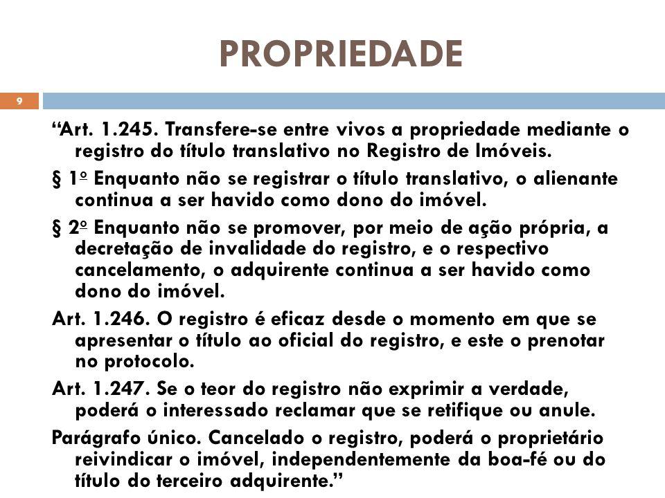 PROPRIEDADE Art. 1.245. Transfere-se entre vivos a propriedade mediante o registro do título translativo no Registro de Imóveis. § 1 o Enquanto não se