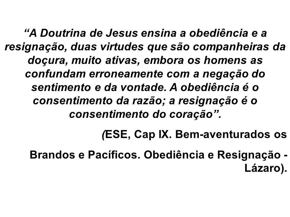 A Doutrina de Jesus ensina a obediência e a resignação, duas virtudes que são companheiras da doçura, muito ativas, embora os homens as confundam erro