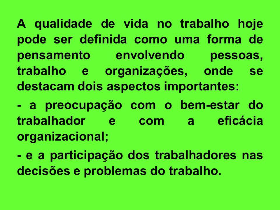A qualidade de vida no trabalho hoje pode ser definida como uma forma de pensamento envolvendo pessoas, trabalho e organizações, onde se destacam dois