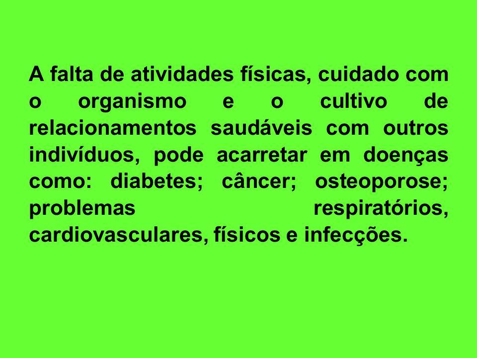 A falta de atividades físicas, cuidado com o organismo e o cultivo de relacionamentos saudáveis com outros indivíduos, pode acarretar em doenças como: