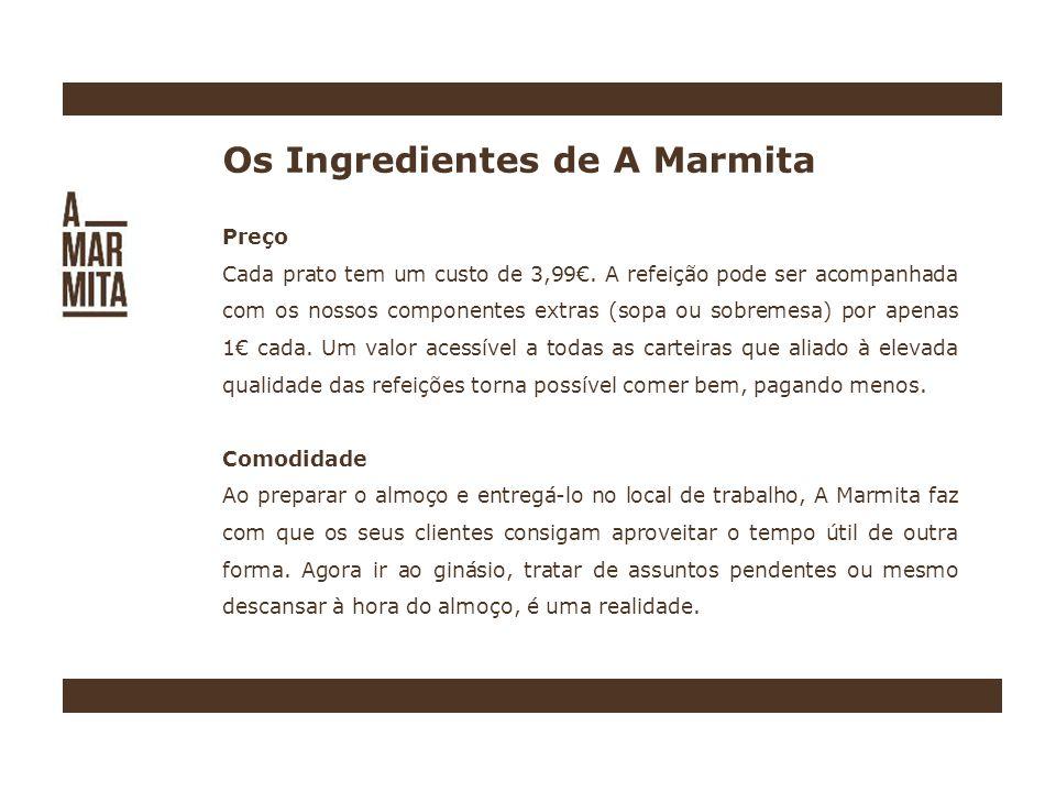 Os Ingredientes de A Marmita Preço Cada prato tem um custo de 3,99.